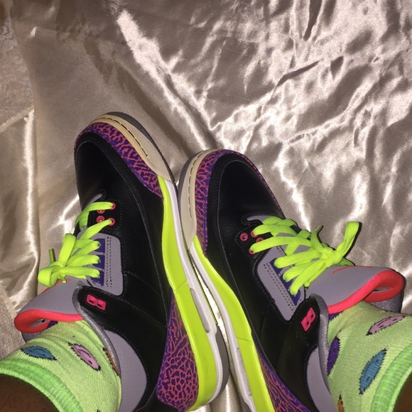 lowest price 12922 3a6d3 Jordan Shoes | Black Purple Green Red Air Retro 3 Gs | Poshmark